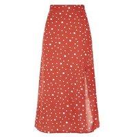 Influence Rust Spot Side Split Midi Skirt New Look