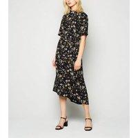 JDY Black Floral High Neck Midi Dress New Look