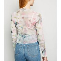 Carpe Diem Pink Floral Mesh Long Sleeve Top New Look
