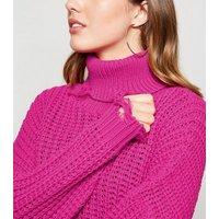 Carpe Diem Bright Pink Distressed Roll Neck Jumper New Look