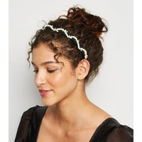 Black Faux Pearl Embellished Twist Headband New Look