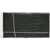Black Faux Croc Clutch Bag New Look Vegan