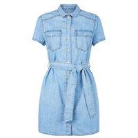 Petite Blue Denim Short Sleeve Dress New Look