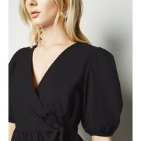 Black Puff Sleeve Poplin Mini Wrap Dress New Look