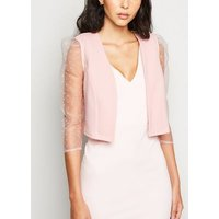 Pale Pink Spot Organza Sleeve Crop Blazer New Look