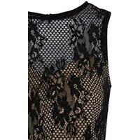 Black Lace Sleeveless Peplum Top New Look