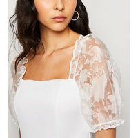 Cream Organza Sleeve Bodysuit New Look