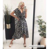 Black Zebra Print Ruffle Midi Dress New Look