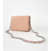 Pale Pink Leather-Look Quilted Mini Bag New Look