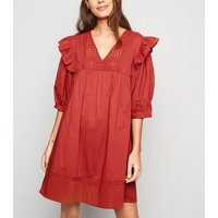 Rust Broderie V Neck Frill Trim Mini Smock Dress New Look