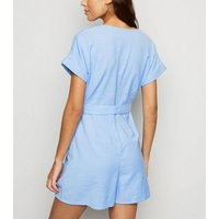 Pale Blue Button Front V Neck Playsuit New Look