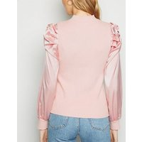 Cameo Rose Pale Pink Satin Sleeve High Neck Jumper New Look