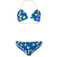 Girls Blue Lemon Print Scuba Bikini Set New Look