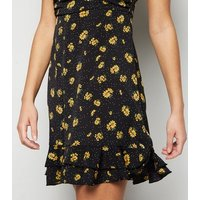 Urban Bliss Black Floral Spot Square Neck Puff Sleeve Dress New Look