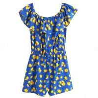 Girls Blue Lemon Print Bardot Beach Playsuit New Look