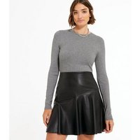 Pale Grey Ribbed Knit Crew Jumper New Look