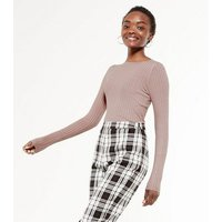 Mid Pink Ribbed Knit Crew Jumper New Look