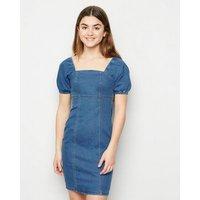 Girls Pale Blue Denim Puff Sleeve Dress New Look