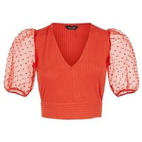 Red Chiffon Spot Puff Sleeve Crop Top New Look