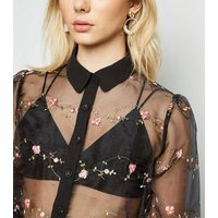 Black Floral Embroidered Organza Shirt New Look