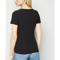 Black Tie Front Ribbed Top New Look