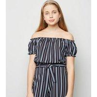 Girls Blue Stripe Scuba Bardot Top New Look