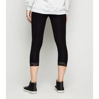Black Jersey Lace Trim Cropped Leggings New Look