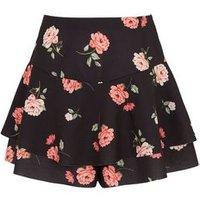Girls Black Floral Scuba Skort New Look