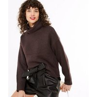 Dark Brown Boxy Roll Neck Jumper New Look