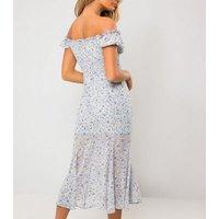 Urban Bliss Blue Floral Bardot Midi Dress New Look