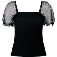 Black Heart Organza Puff Sleeve Top New Look