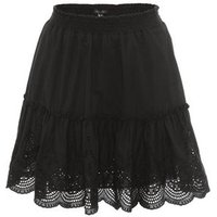 Black Broderie Tiered Mini Skirt New Look