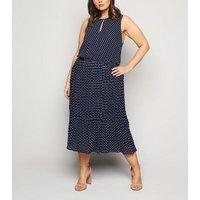 Blue Vanilla Curves Navy Spot Midi Dress New Look