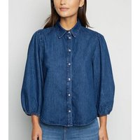 Petite Blue Puff Sleeve Denim Shirt New Look