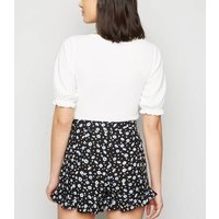 Black Floral Ruffle Shorts New Look