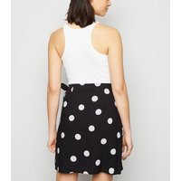 Black Spot Wrap Mini Skirt New Look