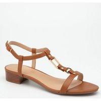 Tan Leather-Look Metal Strap Sandals New Look Vegan