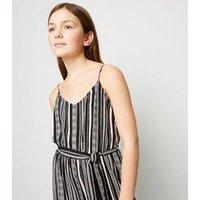 Girls Black Aztec Stripe Tie Waist Jumpsuit New Look