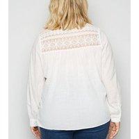 Curves Off White Lace Yoke Tassel Blouse New Look