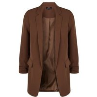 Brown Ruched Sleeve Long Blazer New Look
