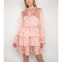 Gini London Pink Satin Frill Mini Dress New Look
