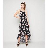 Girls Black Floral Dip Hem Maxi Dress New Look