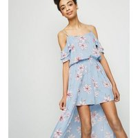 Girls Pale Blue Floral Cold Shoulder Maxi Playsuit New Look
