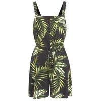 Black Tropical Palm Tie Waist Playsuit New Look
