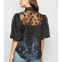 Blue Vanilla Black Embroidered Puff Sleeve Shirt New Look