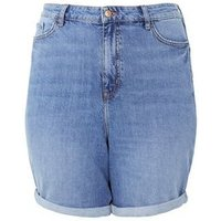 Curves Blue Waist Enhance Denim Mom Shorts New Look