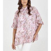Blue Vanilla Pink Floral Frill Shirt New Look