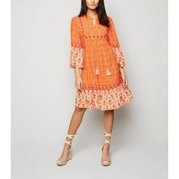 Blue Vanilla Orange Ditsy Floral Tiered Hem Dress New Look