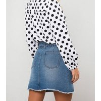 Urban Bliss Blue Belted Denim Skirt New Look