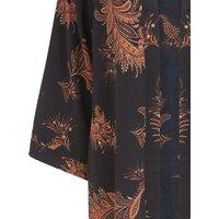 Black Feather Long Kimono New Look